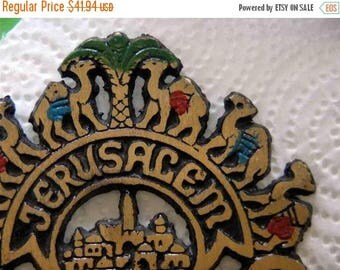 ON SALE Antique napkin holder,made in israel,jerusalem,1960's,made of brass,decorated with camels,palm tree