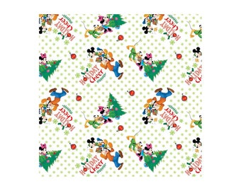 Disney Fabric Mickey and Friends Trim the Tree Christmas Fabric From Springs Creative 100% Cotton
