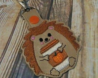 Hedgehog - Coffee - Frap - Java - Key Fob - In The Hoop - Snap/Rivet Key Fob - DIGITAL Embroidery Design