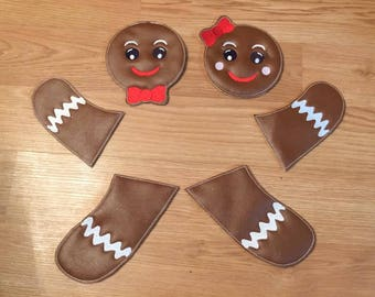 LARGE Padded Feltie Gingerbread Boy and Girl SET - 4 x 4, 5 x 7 and 6 x 10 Included  - DIGITAL Embroidery Design