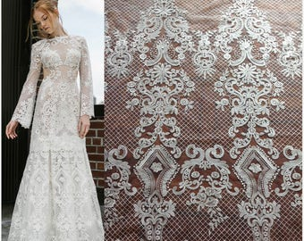 1 Yard High Quality Off-White Lace Fabric,Guipure Lace,Bridal Dress,Embroidery French Lace Fabric,Wedding Dress Lace,Vintage Lace Fabric