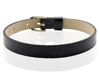 BLACK type 22cm crocodile leather bracelet