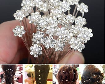 Rhinestone and Pearl hair stick 1 X mother of Pearl