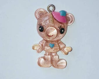 X 1 translucent pink kawaii bear
