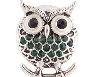 Metal OWL snap button and green 18mm