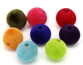 X 10 velvet mix color 12mm beads