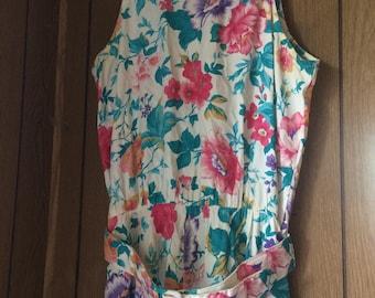 Dawn Joy belted floral dress vintage 1980s