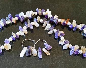 Amethyst, Citrine, & Pearl necklace, earrings set