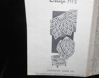 Crochet pattern Pineapple Crochet Chair Set Pattern Design 7112 Vintage 1946 Mailorder