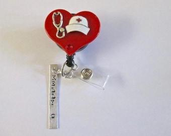 ID Badge Retractable Reel,Hand Stamped, Personalized,Stethascope, Nurse,Veterinarian, Pediatric, Medical,RN,Office,Lvn