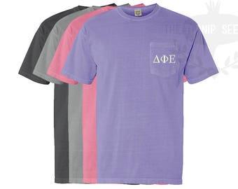 Delta Phi Epsilon Greek Letters Embroidery T-Shirt - Comfort Colors Shirt with Pocket
