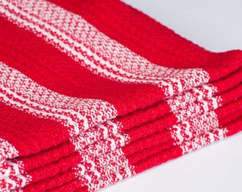 100% Cotton Dish Towels Red White Check Stripe Gift Housewarming Holiday