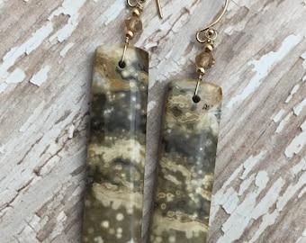 Ocean Jasper Earrings, Citrine earrings, Jasper Stone Earrings, Gemstone Earrings, Madagascar Stone Earrings, Earrings, Earrings Under 100
