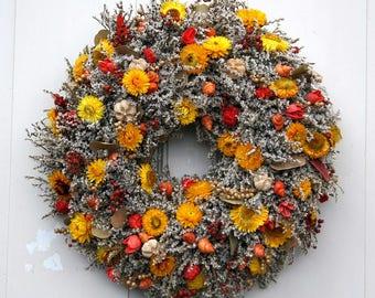 Door wreath wreath Statice Strawflower handmade 49 cm