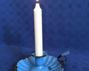 antique blue enamel candleholder