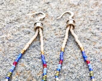 Loop Seed Bead Earrings, Turquiose Stone Earrings, Boho Beaded Earrings, Southwestern Earrings, Long Earrings