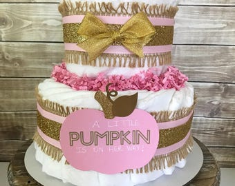 A Little Pumpkin is on Her Way Diaper Cake, 2 Tier Little Pumpkin Diaper Cake, Fall Baby Shower Decorations