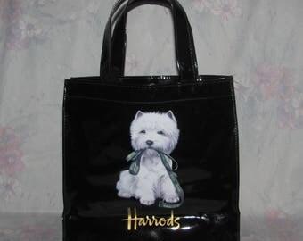 Vintage Harrods Knightsbridge Shopping Bag - Fluffy White Terrier Dog Holding Leash - Black Bag - PVC Tote Bag - Souvenir - Small Size