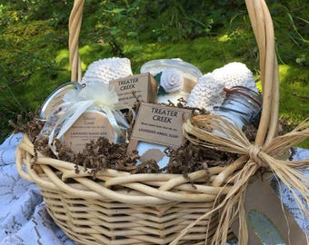 Relaxation Gift Basket -  Burlap - Rose - Spa -  Relaxation -  Bath and Body -  Soy Candle with Wood Wick
