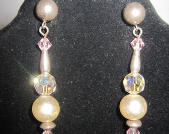 Pink and Faux Pearl Earrings