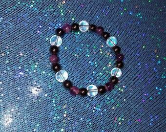 Amethyst Hemetite Rainbow Glass Power Bracelet