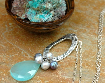 Faceted Aqua Blue Chalcedony and Pearl Cluster Pendant Necklace on Sterling Silver Chain