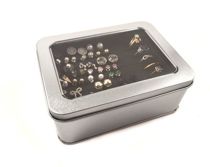 Tin Jewelry Box - Silver Box Earring Holder - Travel Jewelry Box