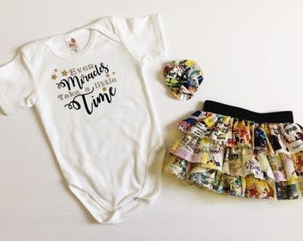 Even miracles take a little time onesie - disney coming home outfit - baby photo shoot outfit - first birthday outfit - smash cake outfit -