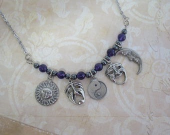 Yin Yang charm necklace with Amethyst and Hematite beads  CCS190