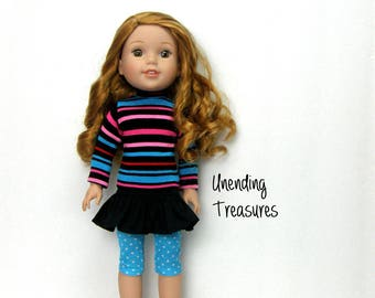 14 inch doll clothes made to fit like wellie wisher doll clothes striped turtleneck top black ruffle skirt and turquoise blue capri leggings