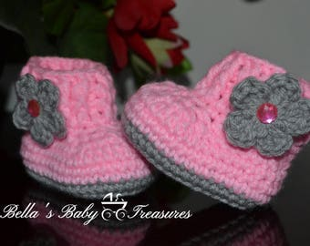 Pink booties with gray flower