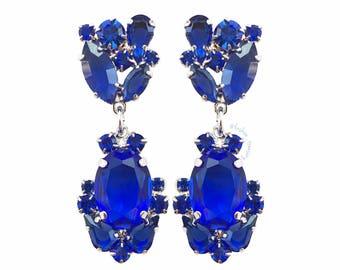 Crystal Blue Earrings, Colorful crystal earrings, Swarovski crystal earrings