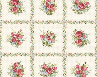 Rose Clusters, Ecru Polka Dots, PANEL, Roses on the Vine, Marti Michell, Maywood (23 inches)~
