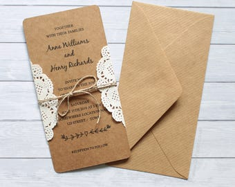 PRINTED Personalised Kraft Wedding Invitation / Rustic INVITATIONS / Shabby  Chic / Counrty Wedding / Printed