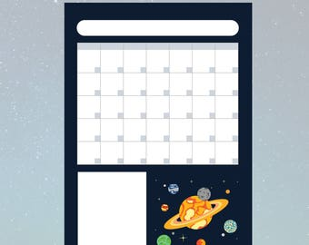 Solar System Blank Monthly Planner/Schedule with Note Section - PDF DOWNLOAD - A4 (210x291mm)