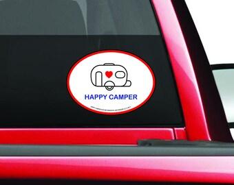 Happy Camper Decal - Single Wheel Camper Decal - Camping Trailer Bumper Sticker - Single Wheeled Camper Decal - Trailer - Camper Sticker