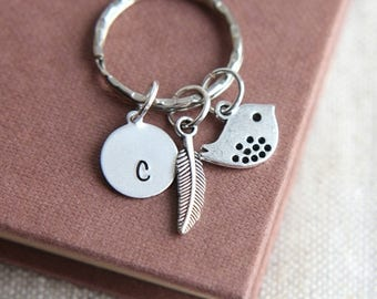 SALE Bird Keychain, Bird Keyring, Hand Stamped Keyring, Monogram Keychain, Personalized Initial Keychain, Feather Keychain, Feather Keychain