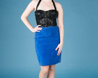 1980s Blue Suede Pencil Skirt