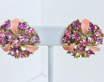 Pink Rhinestone Vintage Earrings