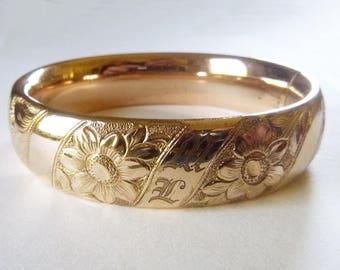 Edwardian gold filled wide puffy bangle wedding bracelet with Art Nouveau floral design monogramed