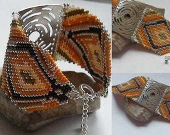 Brown and silver woven Cuff Bracelet