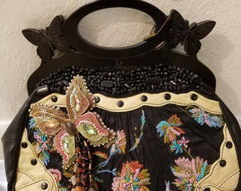 RARE Vintage MARY FRANCES Butterfly theme handbag