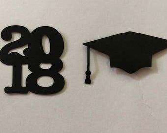 2018 and Grad Cap Confetti • table decor -• graduation