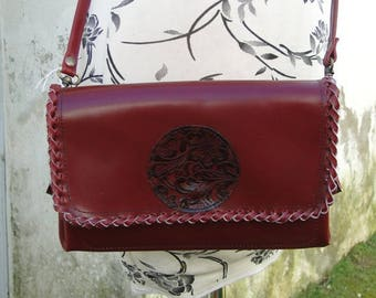 Bag worn leaf 100% leather and handmade