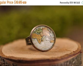 20% OFF Vintage map ring, adjustable ring, statement ring, antique map ring, antique brass ring, glass ring, antique brass / silver plated r