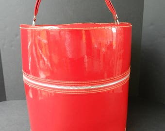 Shiny Red Vinyl Wig Case, Tall Wig Box, Hat Box, Portable Carrying Case, Accessories Storage