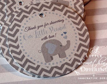 Elephant Baby Shower Tags, Favor Tags, Gray, Baby Blue, Thank You Tags, Gift Tags
