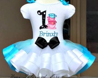Alice in onderland Tea Party Birthday Tutu Set ~  Ribbon Trim Tutu & Hair Bow ~ Customize in Any Colors of Your Preference