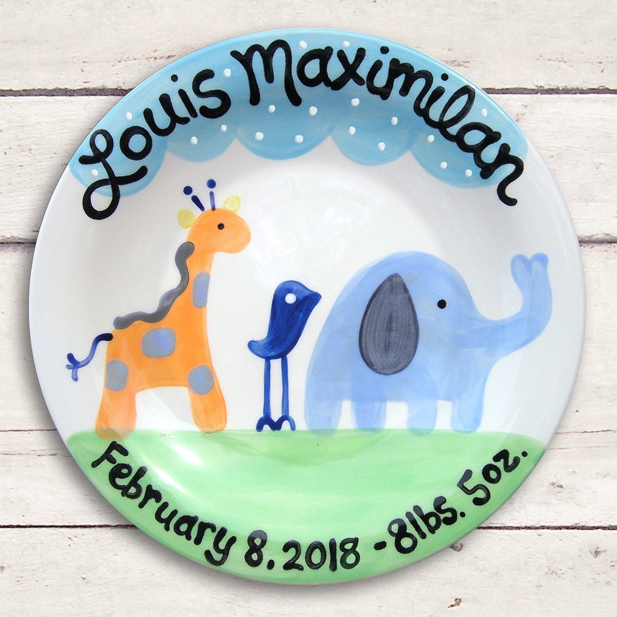 Personalized blue baby new baby gift safari baby boy blue 1 negle Images