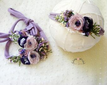 LAVY - Lavanda newborn headband, Baby accesories, Baby props, Newborn headband,Newborn titeback prop, Photography prop, Flower headband